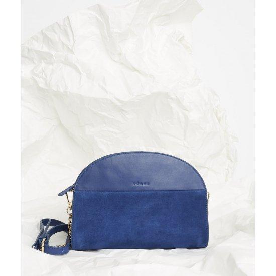 petit sac à main demi lune, vachette lisse et agneau velours, Les Baisers Classic, bordeaux zippé doré, PÖ&ME Paris